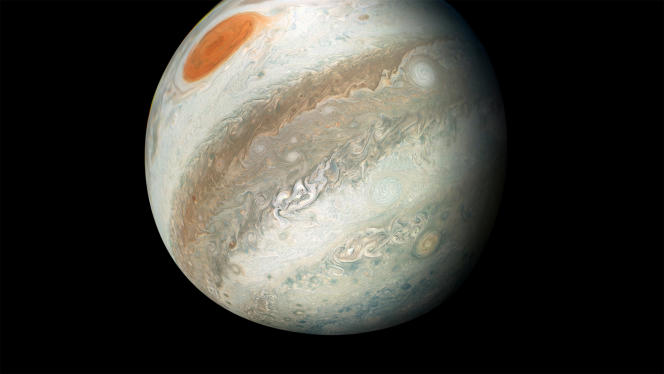 Jupiter, image taken by NASA's Juno probe, April 1, 2018. The giant planet is essentially made up of helium and hydrogen.