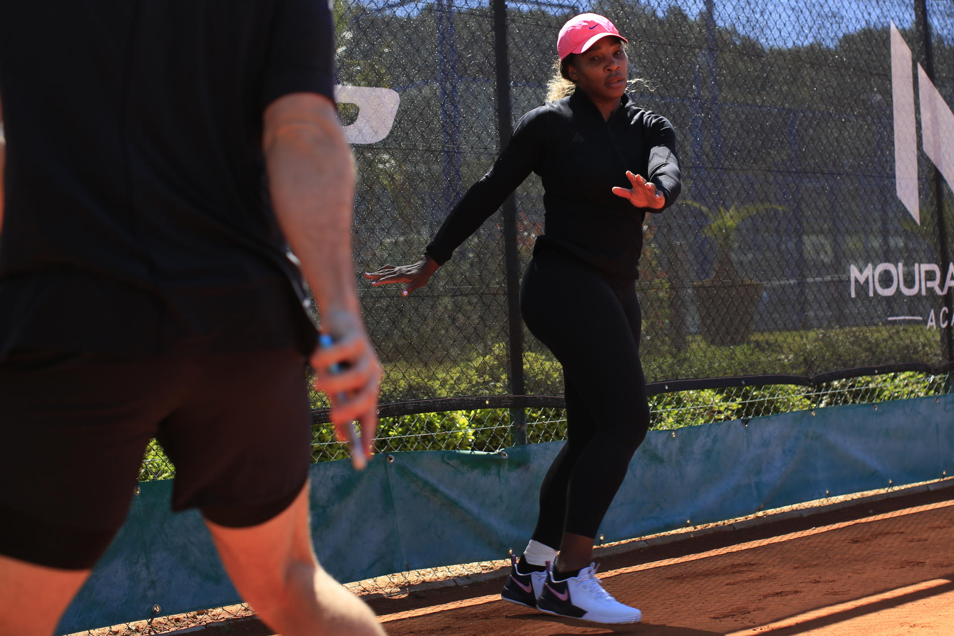 Serena Williams warms up before her training in Biot (Alpes-Maritimes), May 5, 2021.