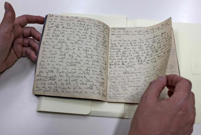 An original manuscript by Franz Kafka, written in German, presented by the National Library of Israel, May 31, 2021.