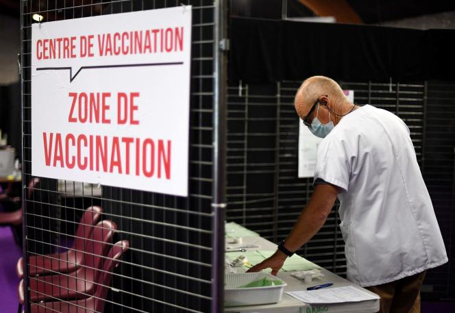 A vaccination center in Garlan, western France, in May 2021.