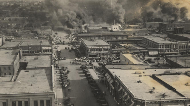 Fires raged through the black neighborhood of Greenwood on June 1, 1921, in the city of Tulsa, Oklahoma.  It is one of the worst outbursts of racial violence in the United States.