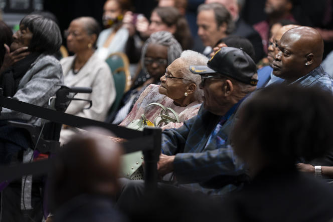 The oldest survivor of the Tulsa (Oklahoma) massacre, Viola Ford Fletcher attends Joe Biden's speech, on the occasion of the 100 years of the tragedy, on June 1, 2021.