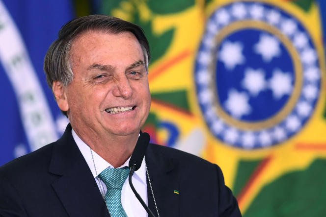 Brazilian President Jair Bolsonaro during the announcement of the sponsorship of the Olympic sports team by the state bank Caixa Economica Federal, at the Planalto Palace on June 1, 2021.