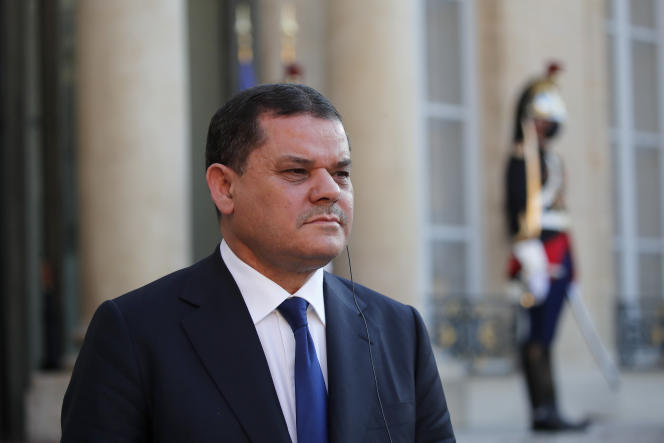 Libyan Prime Minister Abdel Hamid Dbeibah during his meeting with Emmanuel Macron at the Elysee Palace in Paris on June 1, 2021.