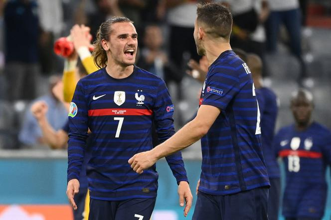 Antoine Griezmann and Lucas Hernandez savor the victory of the France team against Germany, June 15, 2021
