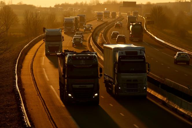 Trucks on the highway connecting Paris to Brussels, December 4, 2019.