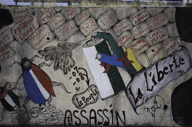 Political graffiti on a wall in the commune of Beni Maouche, in Kabylia, on June 10, 2021.