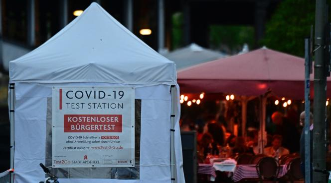 A temporary Covid-19 screening site in central Berlin on June 1, 2021.