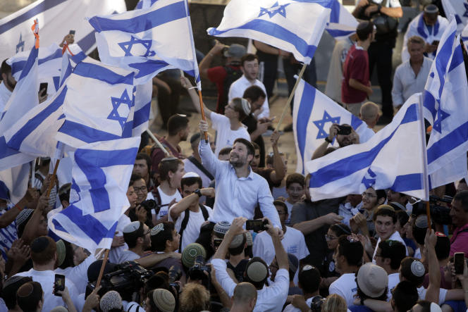 """Far-right Israeli MP Bezalel Smotrich during the """"flag march"""" outside the Old City of Jerusalem on Tuesday, June 15, 2021."""