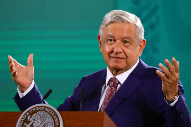 Mexican President Andres Manuel Lopez Obrador at a press conference at the National Palace in Mexico City on May 31, 2021.