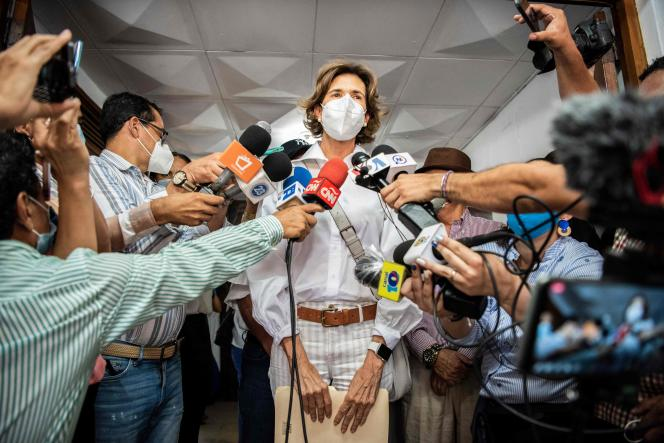 Cristiana Chamorro, daughter of ex-president Violeta Barrios de Chamorro, addresses the press after meeting the leaders of the Ciudadanos por la Libertad party, to formalize her intention to register as a pre-candidate for the presidency of the party, at Managua, the capital of Nicaragua, June 1, 2021.