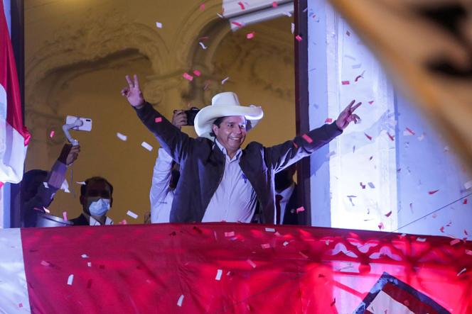 Peruvian presidential candidate Pedro Castillo is addressing supporters from the headquarters of the Free Peru Party in Lima on June 15, 2021.