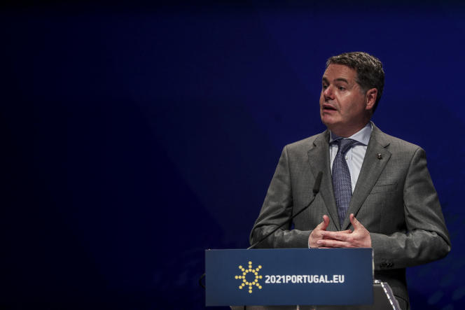 Irish Finance Minister Paschal Donohoe, also President of the Eurogroup, in Lisbon (Portugal) on May 21, 2021.