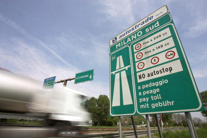 A truck entering Milan, on the A1 motorway towards Naples, April 24, 2006.