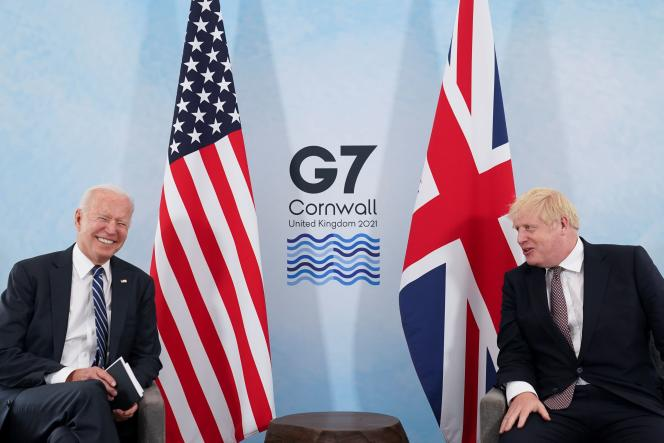 Joe Biden and Boris Johnson during a meeting, before the G7 summit, in Carbis Bay (United Kingdom), on June 10.
