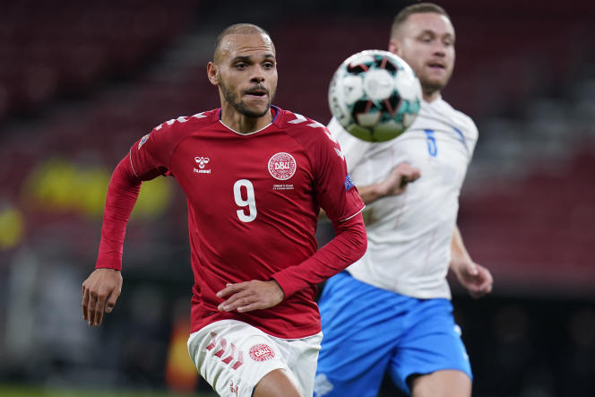 Martin Braithwaite will be one of the leaders in Denmark's attack.  He will wear the number 9, as in a club, at FC Barcelona.  Here, during the match between Denmark and Iceland in the League of Nations, on November 15, 2020, in Copenhagen.