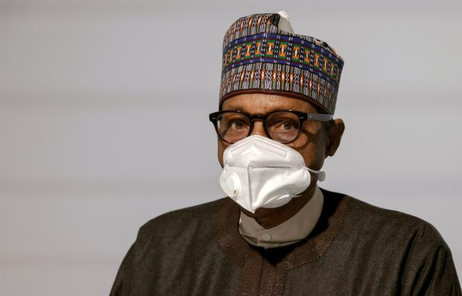 Muhammadu Buhari, Nigerian President, in Paris on May 18, 2021. This former general fought the rebellion during the war in Biafra.