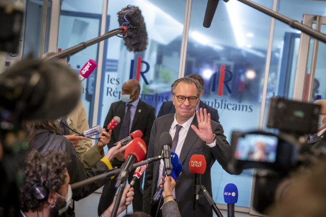 Renaud Muselier leaves a national investiture council at the headquarters of the Les Républicains (LR) party, in Paris, in May 2021.