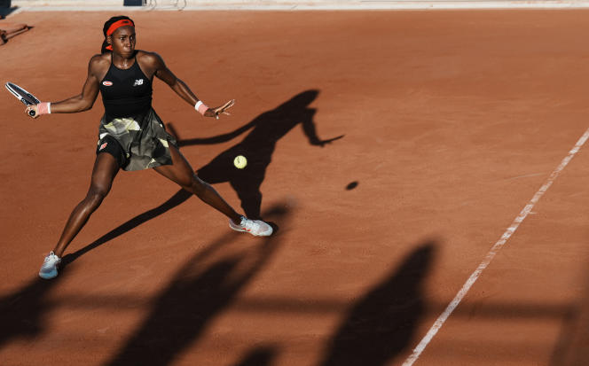 Coco Gauff, during her first round against Serbian Aleksandra Krunic, at Roland-Garros, on June 1.