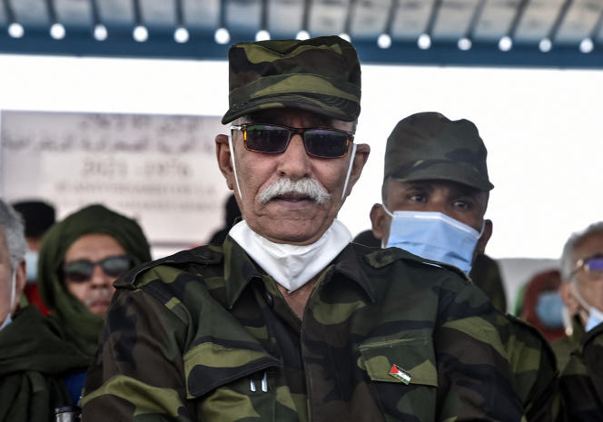 Brahim Ghali, the leader of the Polisario Front, in Tindouf, Algeria, on February 27, 2021.