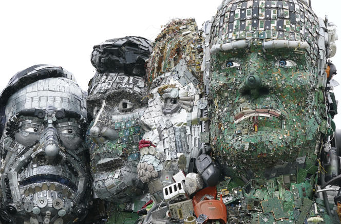 A Joe Rush sculpture, created from e-waste, featuring the faces of G7 leaders and mimicking Mount Rushmore, on a hill in Hayle (Cornwall), England on June 9, 2021.