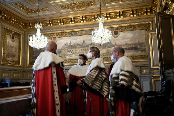 Magistrates of the Court of Cassation before a solemn judicial re-entry session, January 11, 2021, in Paris.