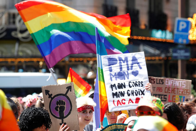 Protesters hold up placards calling for medically assisted procreation for all, during Gay Pride in Paris, June 29, 2019.