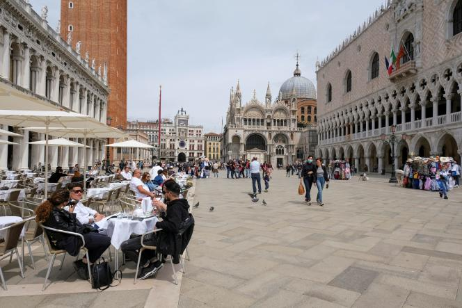 St. Mark's Square, Venice, May 16, 2021. Italy has already lifted the quarantine for travelers vaccinated or showing a negative test, coming from the European Union, the United Kingdom and Israel.