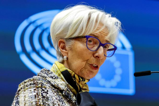 The President of the European Central Bank, Christine Lagarde, in Brussels, February 8, 2021.