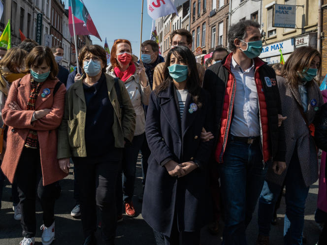 From left to right: Laurence Rossignol, socialist senator of the Oise, Martine Aubry, mayor (PS) of Lille, Karima Delli, head of the ecologist list of the left in Hauts-de-France, and the mayor (EELV) of Grenoble, Eric Piolle, parade in Lille, on May 1st.