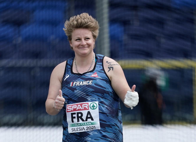 Alexandra Tavernier relishes her victory in the hammer throw competition at the European Team Championships in Chorzow, Poland.