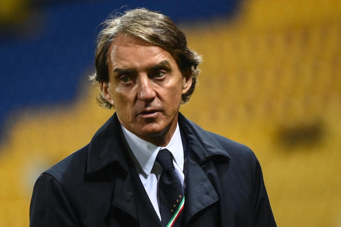 Italy's coach Roberto Mancini on March 25 in Parma in a 2022 World Cup qualifying match against Northern Ireland.