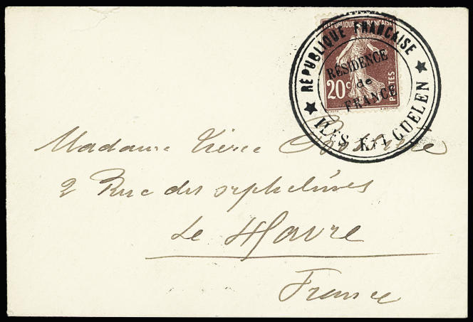 """""""Résidence de France"""" by Kerguelen from 1913, addressed to the wife of Emile Bossière."""
