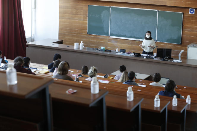 Students at the University of Strasbourg, in March 2021.